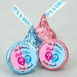"Personalized Pink or Blue ""It's A Girl/Boy"" Plume Hershey's Kisses (Set of 100)"