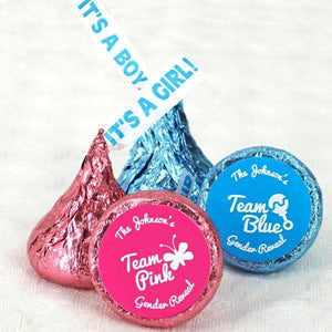 "Personalized Team Pink or Blue ""It's A Girl/Boy"" Plume Hershey's Kisses (Set of 200)"