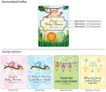 Load image into Gallery viewer, Personalized Baby Coffee Favors - Silver or White (Many Designs Available)