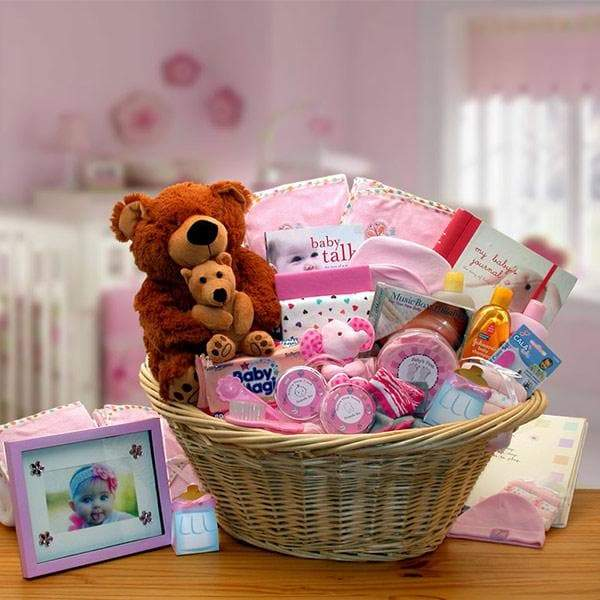 Deluxe Welcome Home Baby Gift Basket - Pink