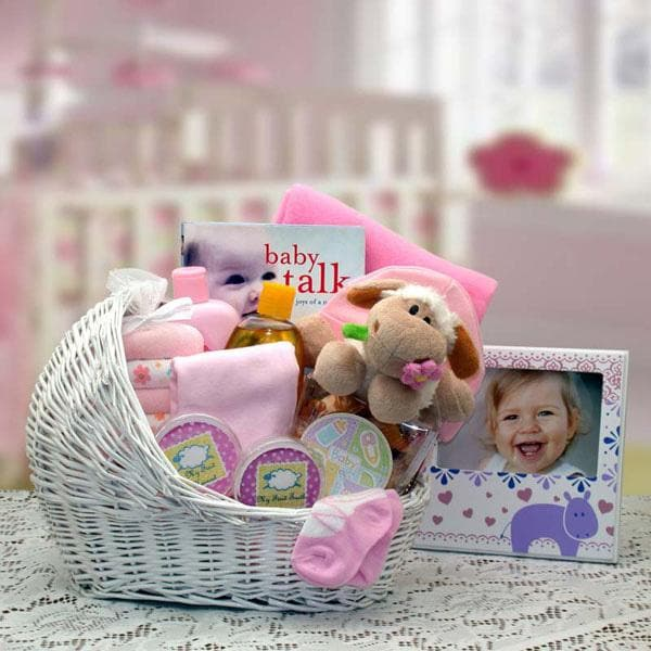 Welcome Baby Bassinet Gift Basket - Pink