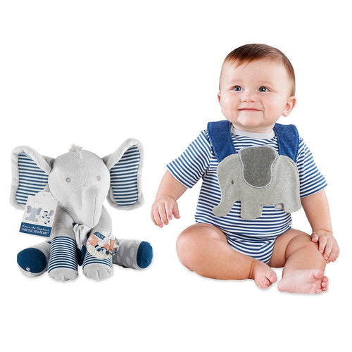 Little Peanut Gift Set with Elephant Layette, Bib, Socks & Plush