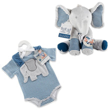 Load image into Gallery viewer, Little Peanut Gift Set with Elephant Layette, Bib, Socks & Plush