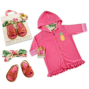 Tropical Gift Set with Pink Hooded Beach Zip Up, Headband & Flip Flops