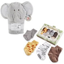 Load image into Gallery viewer, Safari Gift Set with Elephant Hooded Towel & 4-Pair Sock Set