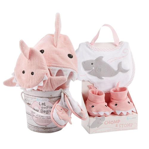 Shark 6-Piece Baby Gift Set - Pink