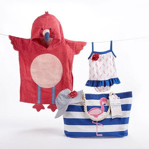 Flamingo 4-Piece Nautical Gift Set with Canvas Tote for Mom