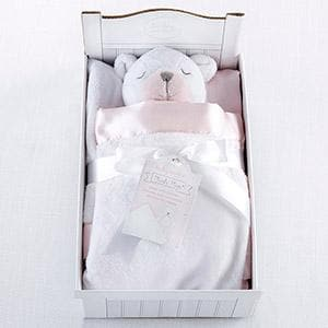 Beary Sleepy Plush Plus Blanket for Baby - Pink (Personalization Available)