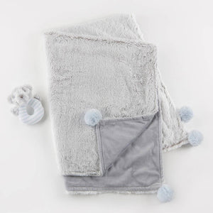 Luxury Baby Blanket & Rattle Gift Set (Blue)
