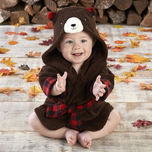 Load image into Gallery viewer, Beary Bundled Brown and Red Hooded Robe (Personalization Available)