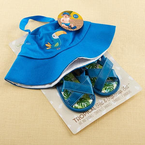 Tropical Beach Hat & Flip Flop Gift Set