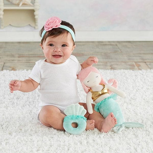 Mia the Mermaid Plush Plus Headband & Rattle for Baby (Personalization Available)