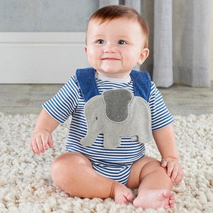 Little Peanut Elephant Layette & Bib Gift Set (Blue)
