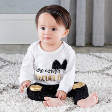 Load image into Gallery viewer, Trendy Baby Here Comes Trouble 2-Piece Outfit