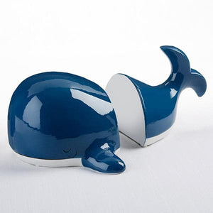 Ceramic Whale Bookends