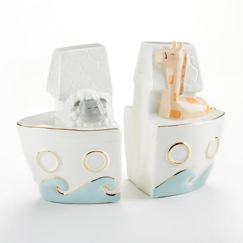 Noah's Ark Porcelain Bookends