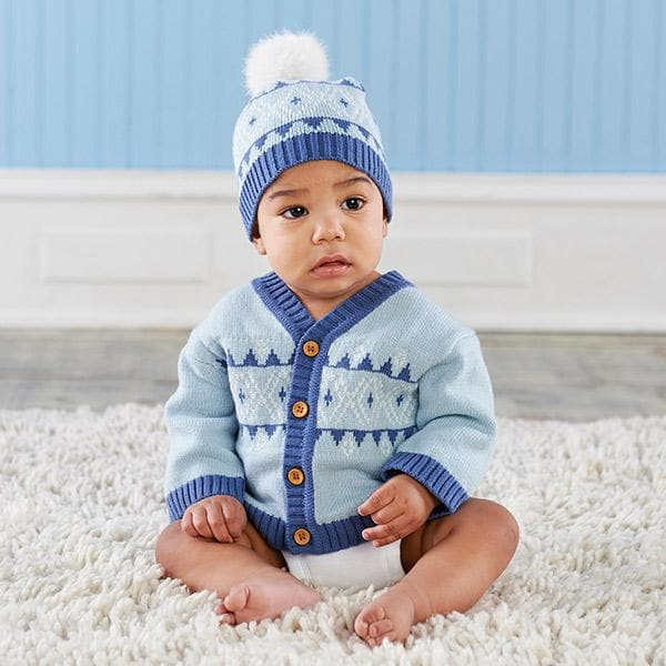 Blue Fair Isle Cardigan and Pom Pom Hat