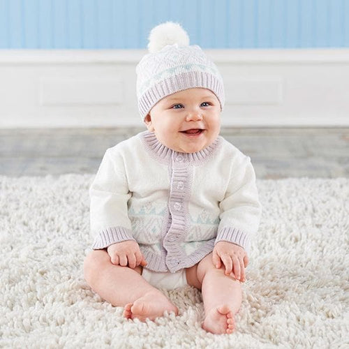 White Fair Isle Cardigan and Pom Pom Hat