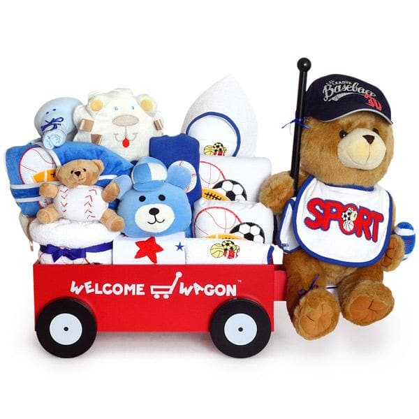 Super Deluxe Bear Baby Boy Welcome Wagon