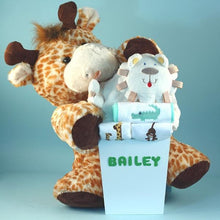 Load image into Gallery viewer, Personalized Deluxe Safari Themed Baby Gift Basket