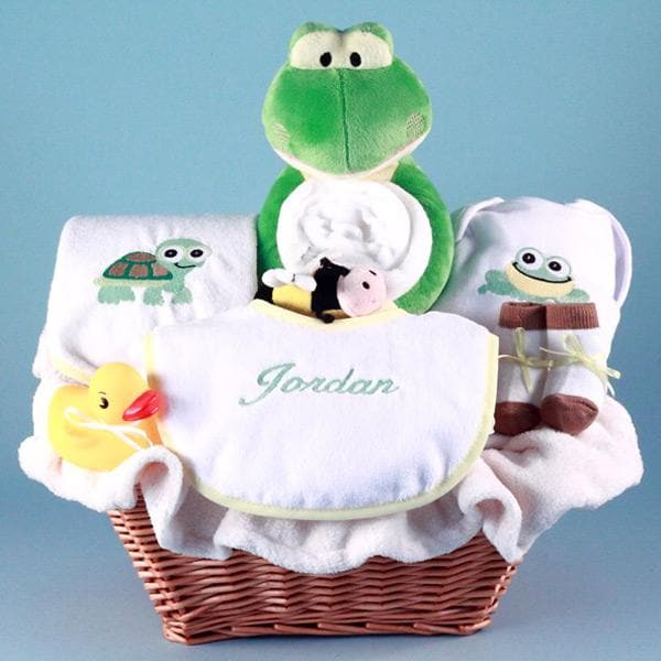 Personalized Friendly Frog Baby Gift Basket