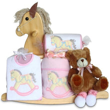 Load image into Gallery viewer, Keepsake Rocking Horse & Layette Baby Gift Set (Personalization Available)