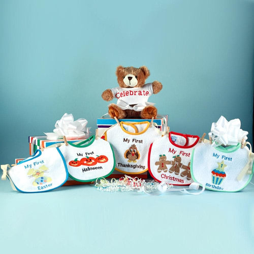 My First Holiday Bibs & Bear Gift Set