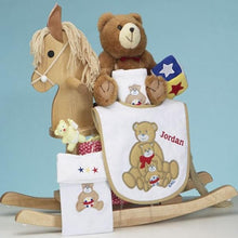 Load image into Gallery viewer, Personalized Keepsake Natural Rocking Horse Baby Gift