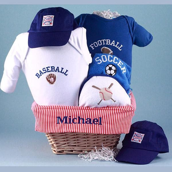 Personalized All Sports Baby Gift Basket