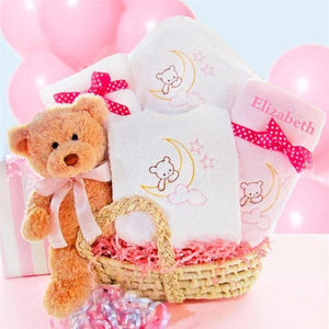 Personalized Beary Special Arrival Moses Gift Basket - Girl