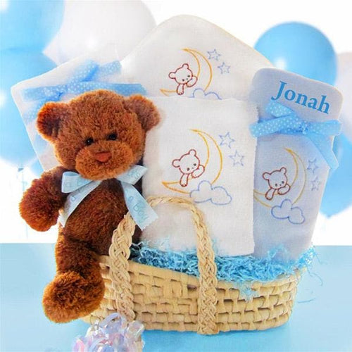 Personalized Beary Special Arrival Moses Gift Basket - Boy