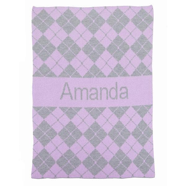 Personalized Argyle Stroller Blanket (Many Colors Available)