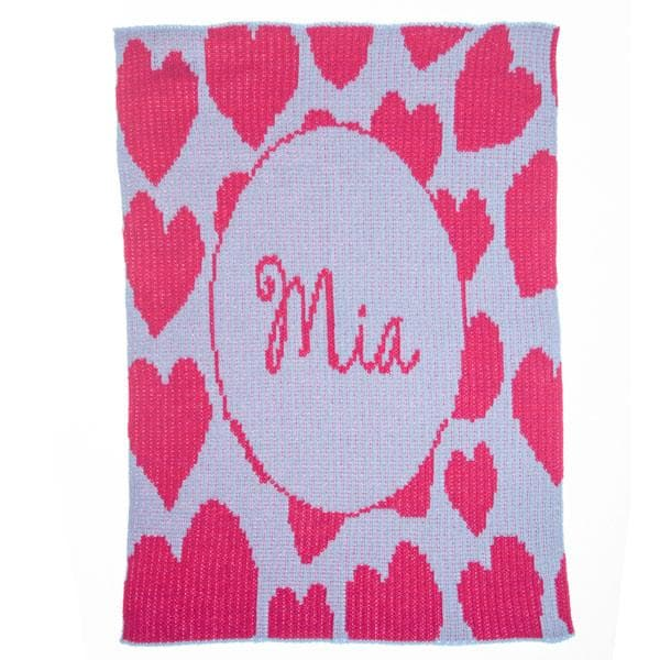 Personalized Heavenly Hearts Stroller Blanket (Many Colors Available)