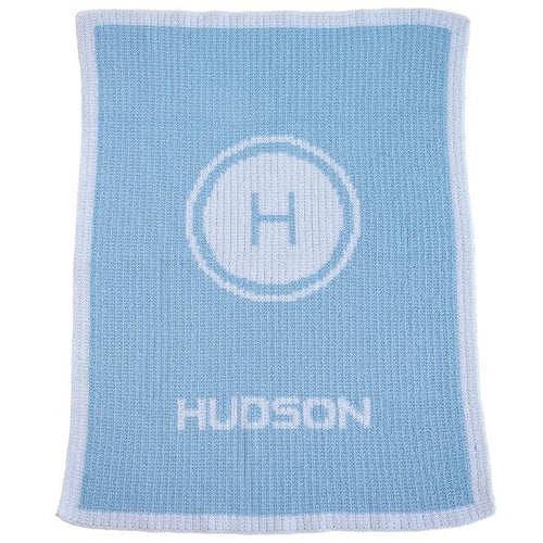 Personalized Initial Stamp & Name Stroller Blanket (Many Colors Available)