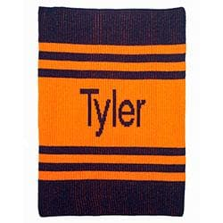 Personalized Pin Stripes Stroller Blanket (Many Colors Available)
