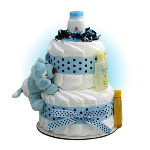 Blue Sparky 2-Tier Diaper Cake