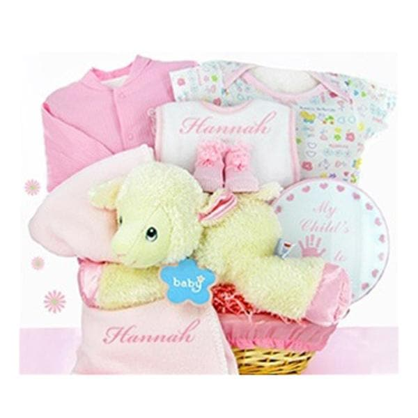 Personalized Lamby Nap Time Gift Basket - Girl