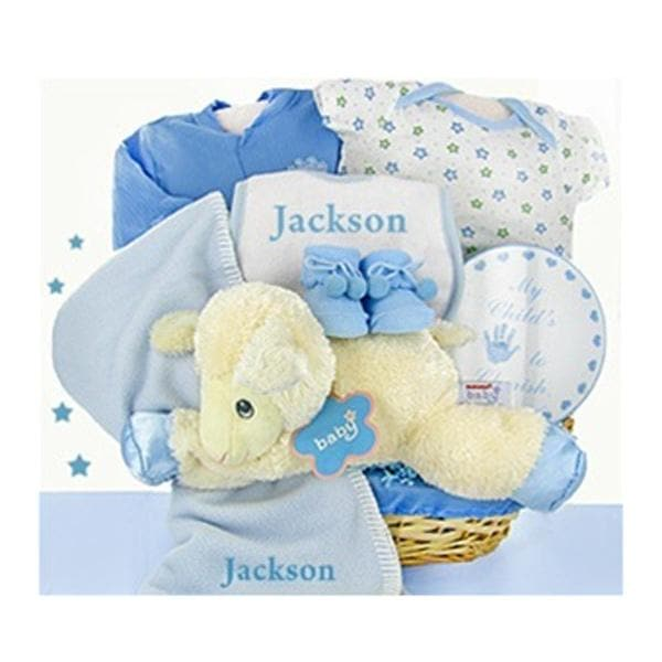 Personalized Lamby Nap Time Gift Basket - Boy