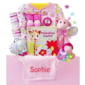 Personalized Little Safari Baby Girl Gift Basket