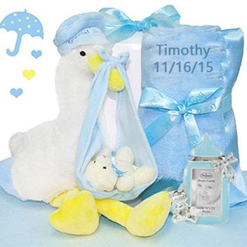 Personalized Stork Delivery Baby Boy Gift Set