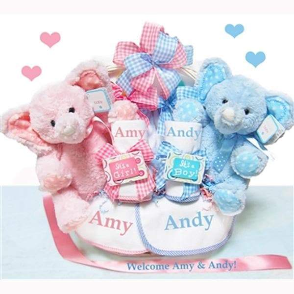 Personalized Double The Blessings Twins Baby Gift Basket