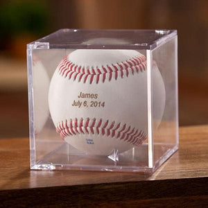 Classic Rawlings Personalized Leather Baseball and Acrylic Case