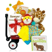 Load image into Gallery viewer, Personalized Jungle Jamboree Radio Flyer Wagon Baby Gift Set