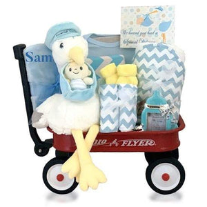 Personalized Stork Delivery Radio Flyer Wagon Gift Basket - Boy