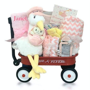 Personalized Stork Delivery Radio Flyer Wagon Gift Basket - Girl