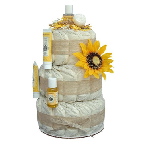 Little Sunflower 3 Tier Organic Diaper Cake