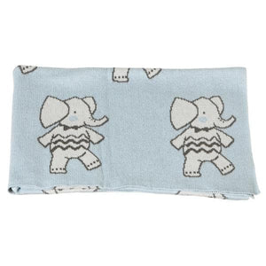 Dancing Elephant Knit Baby Blanket