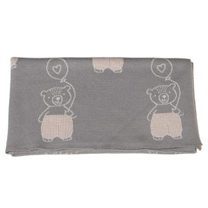 Bear with Balloon Knit Baby Blanket