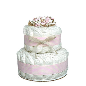 Mini 2 Tier Organic Diaper Cake (Available in Pink or Blue)