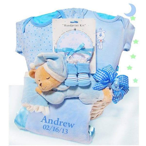 Personalized Bear Nap Time Gift Basket - Boy